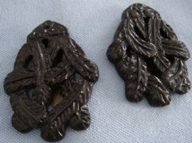 1940s Dress Clips - Pair of signed 'Keim of London' Black Dress Clips